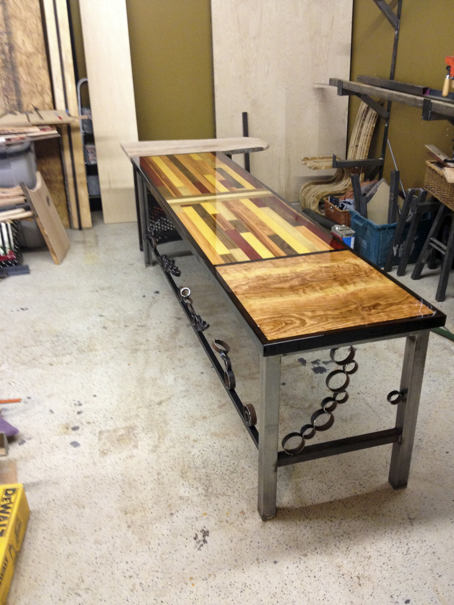 Custom made exotic wood desk with epoxy resin