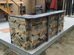 Reclaimed pallet, steel and granite bar. - Parker