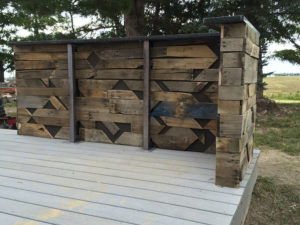 Reclaimed pallet, steel and granite bar.