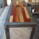 Coffee Table Exotic woods and steel