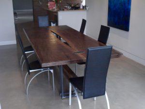 Steel and walnut dining table. Custom table.
