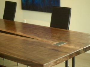 Steel and walnut dining table. Custom table.