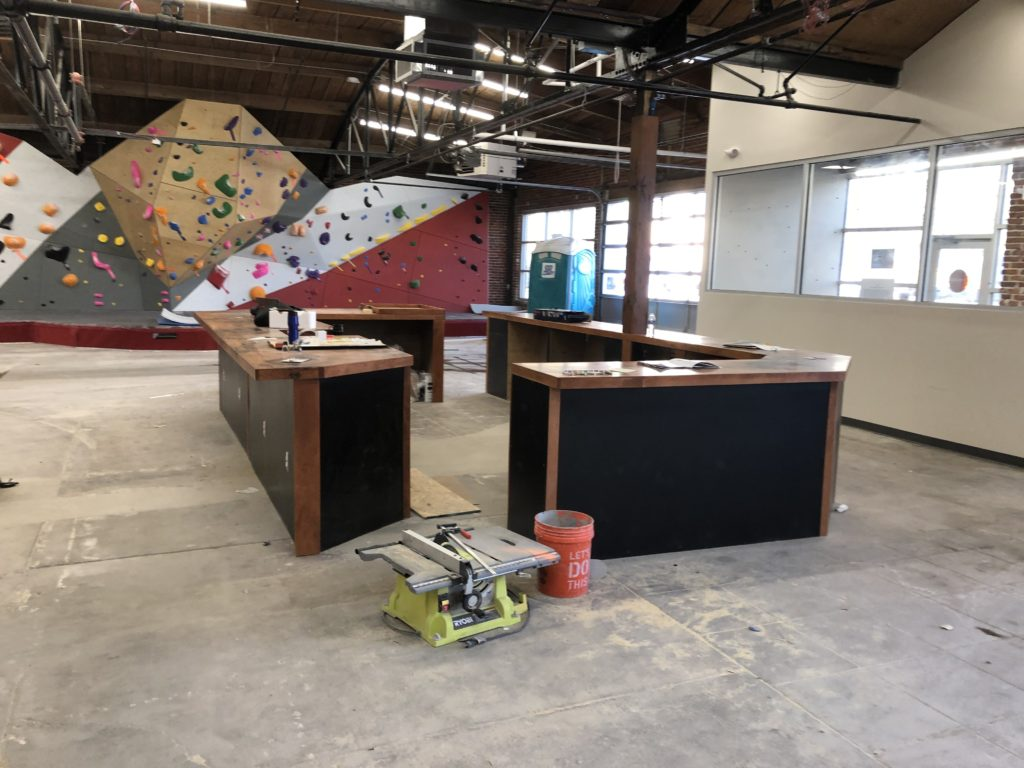 Denver climbing gym custom reception desk