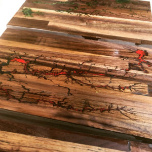 Lichtenberg fractal serving tray with red resin