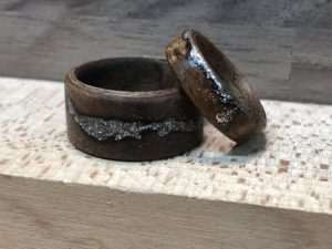 Walnut bent wood ring with lichtenberg fractal and custom color inlay